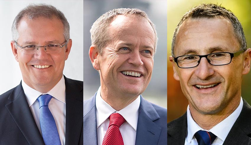 Scott Morrison, Bill Shorten and Richard Di Natale