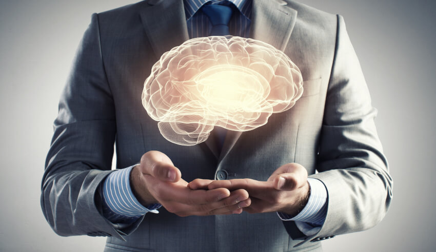Lawyer holding a brain knowledge
