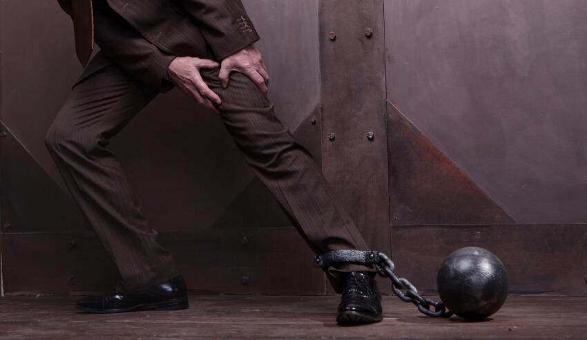 Chain on his leg
