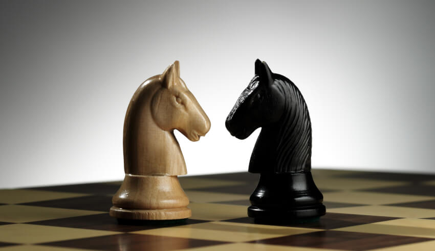 Chess piece, black and white