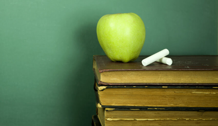 Green apple and chalk