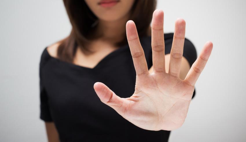 Hand, stop, no, woman