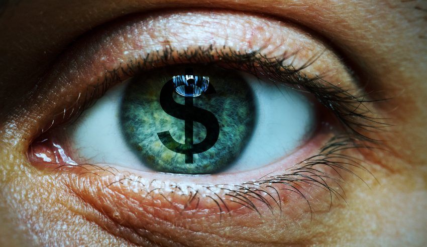 Human eye with dollar sign