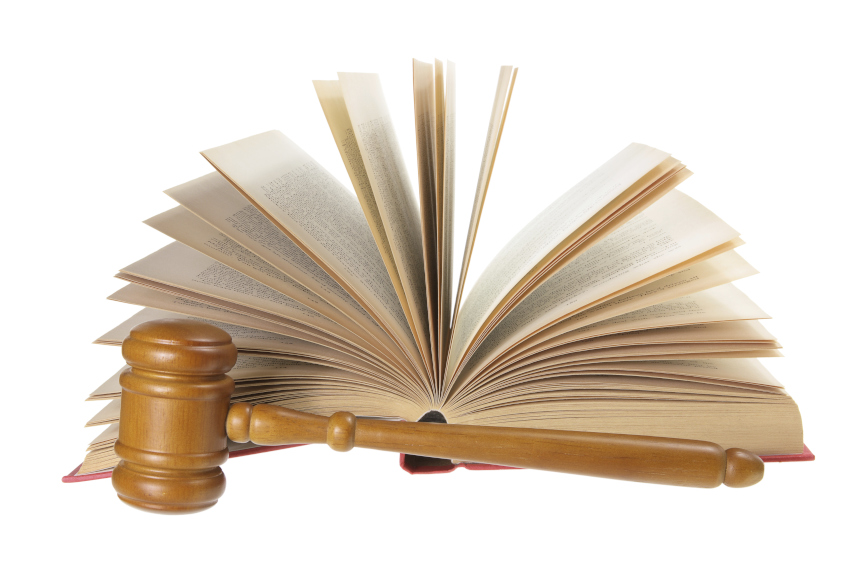 Gavel, legal book, criminal lawyers
