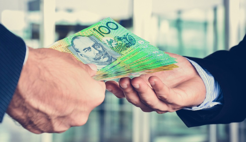 Investment, handing over money, cash, Australian banknotes