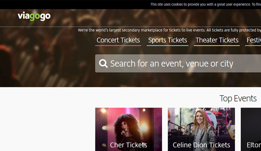 Viagogo website screenshot