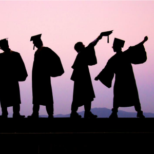purple sky line of graduates law degree cost of education larger debt