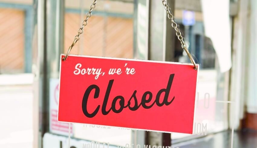 Closed, signage, shuts down