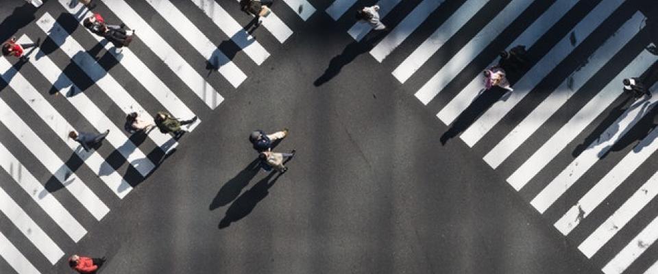 Birds eye view of busy street crossing